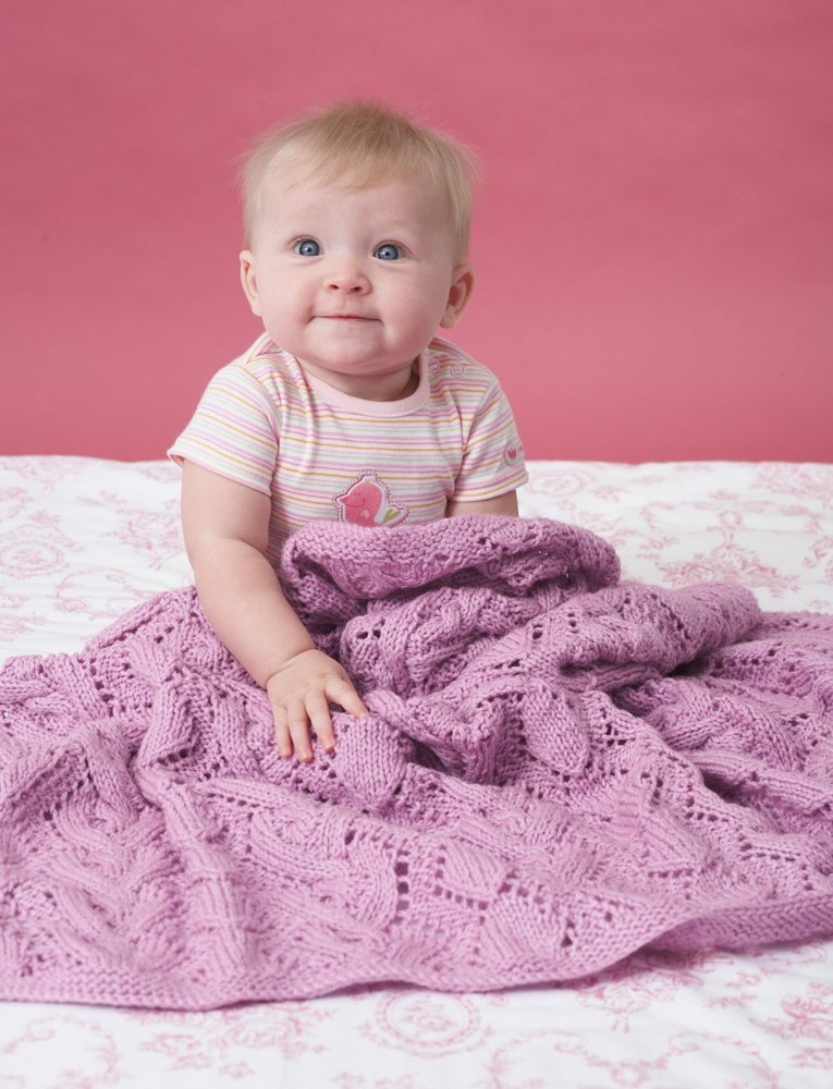Cable and Lace Blanket in Bernat Baby Sport