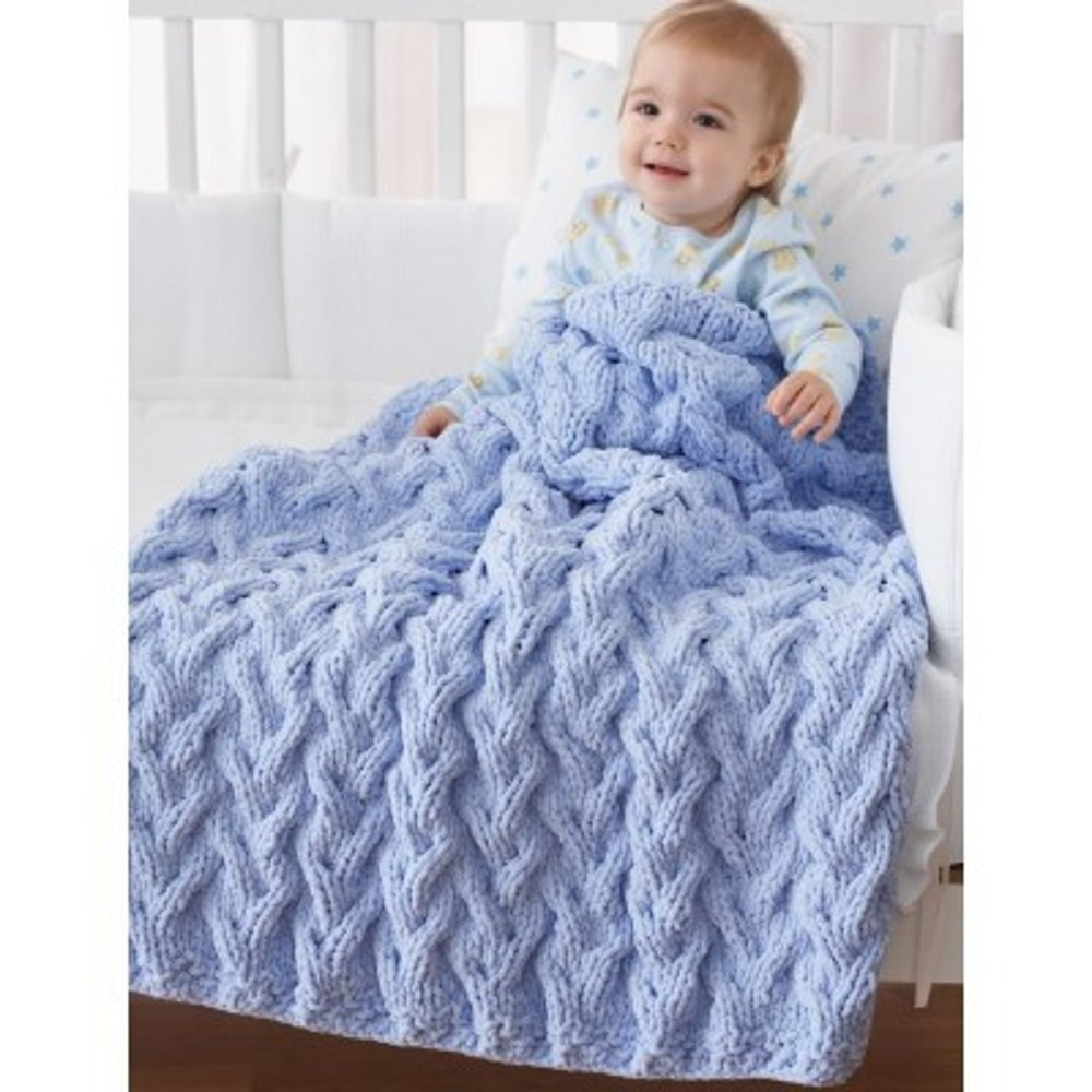 Shadow Cable Baby Blanket in Bernat Baby Blanket